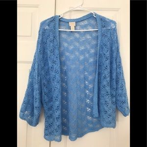 Chicos baby blue sweater/wrap